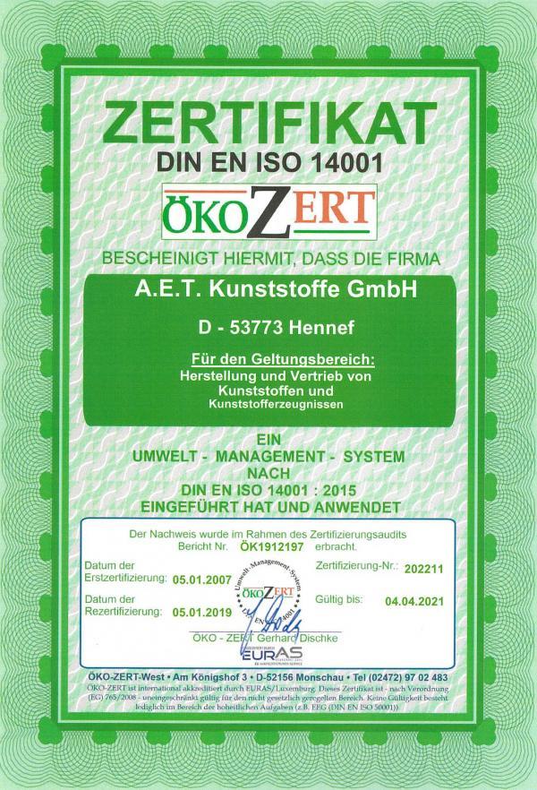 Zertifikat ISO 14001 2020