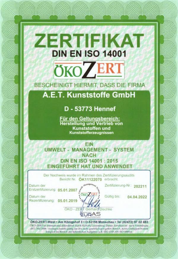 Zertifikat ISO 14001 2021